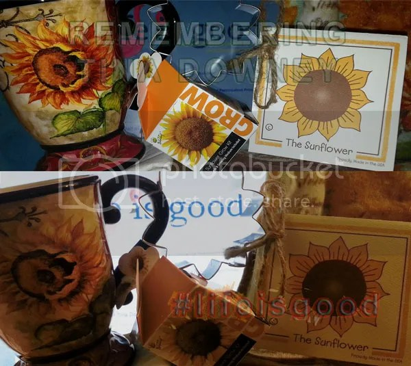 Tina #lifeisgood sunflower memorial image from J Lenni Dorner