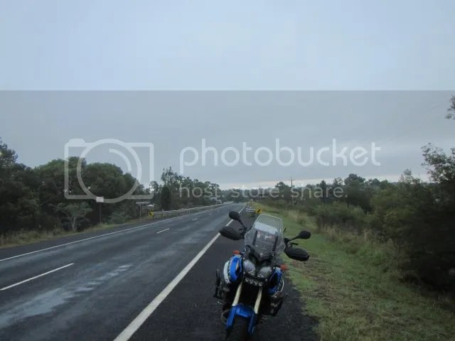 Super Tenere motorcycle at dawn in Mendooran