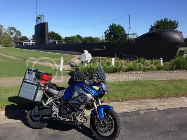 Motorcycle, Yamaha Super Tenere at submarine in Holbrook