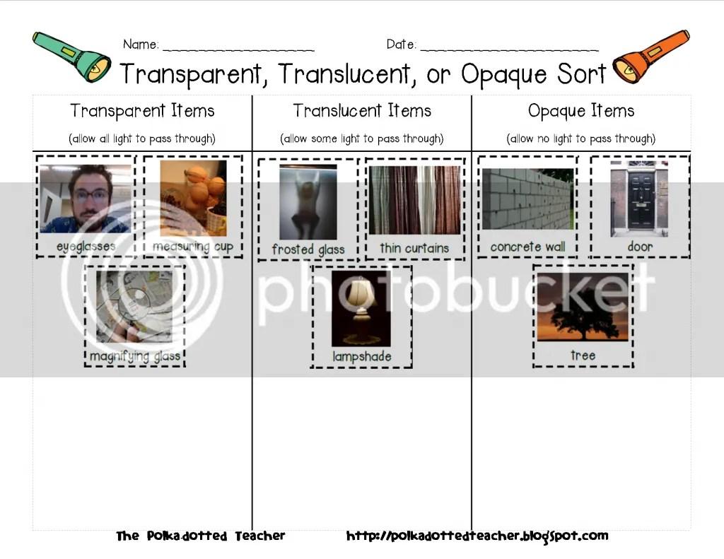 Classroom Freebies Too Transparent Translucent Or Opaque