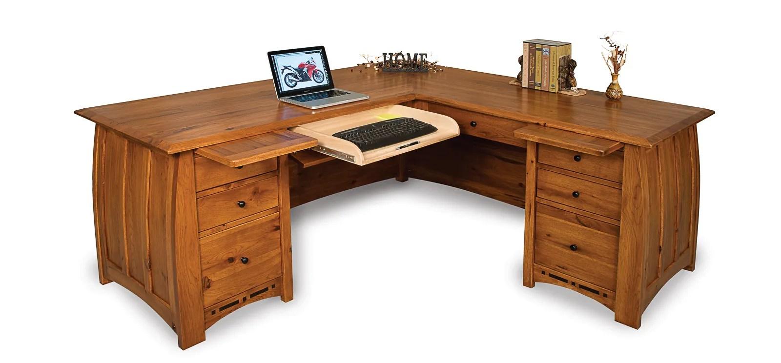 Amish Corner Computer File Desk Solid Wood Mission Office