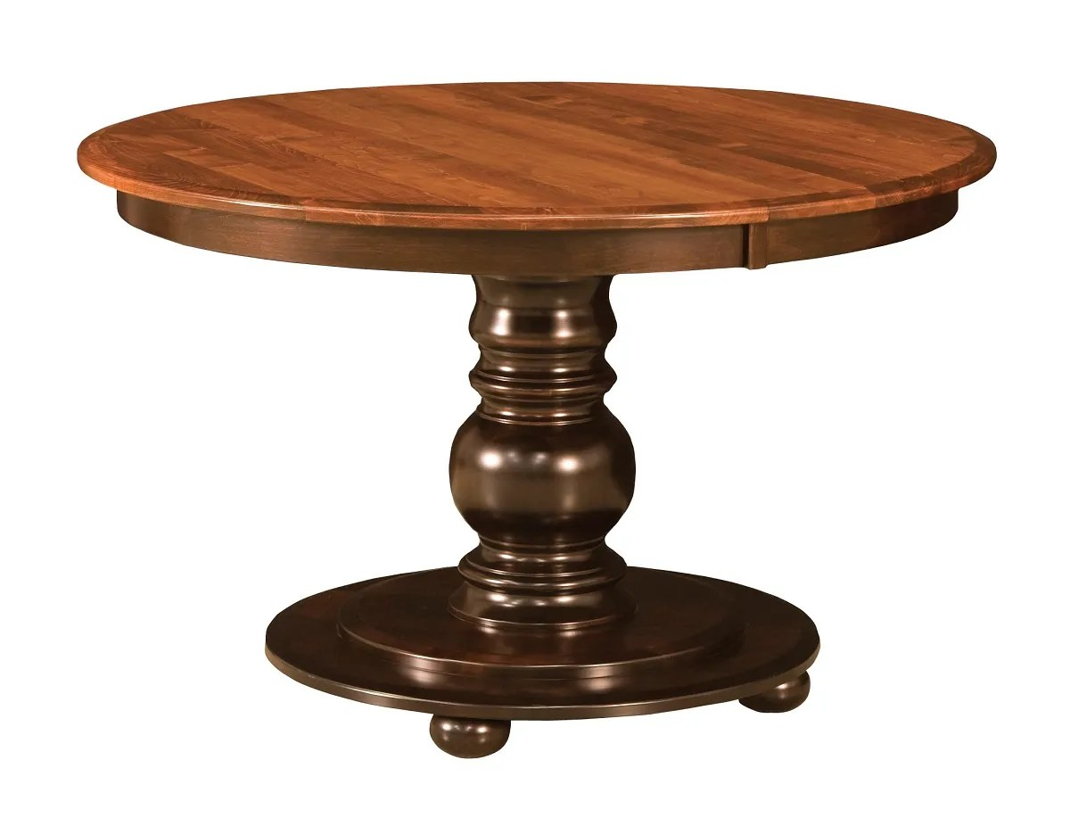Amish Round Pedestal Dining Table Black Traditional