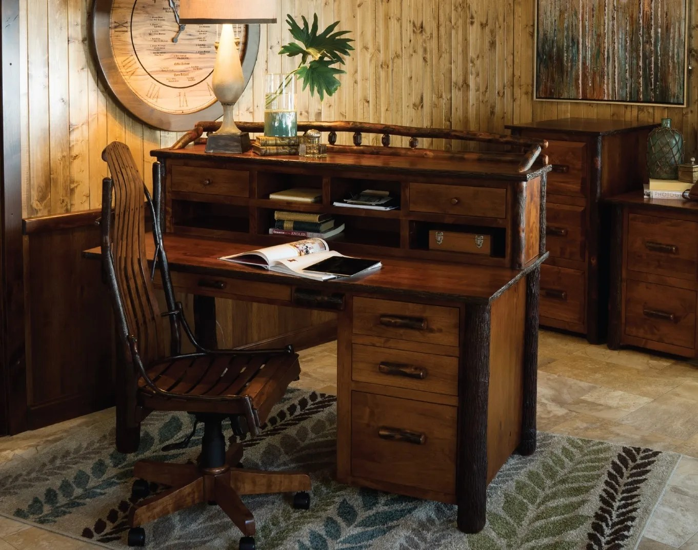 Amish Rustic Hickory Secretary Desk With Topper Solid Wood