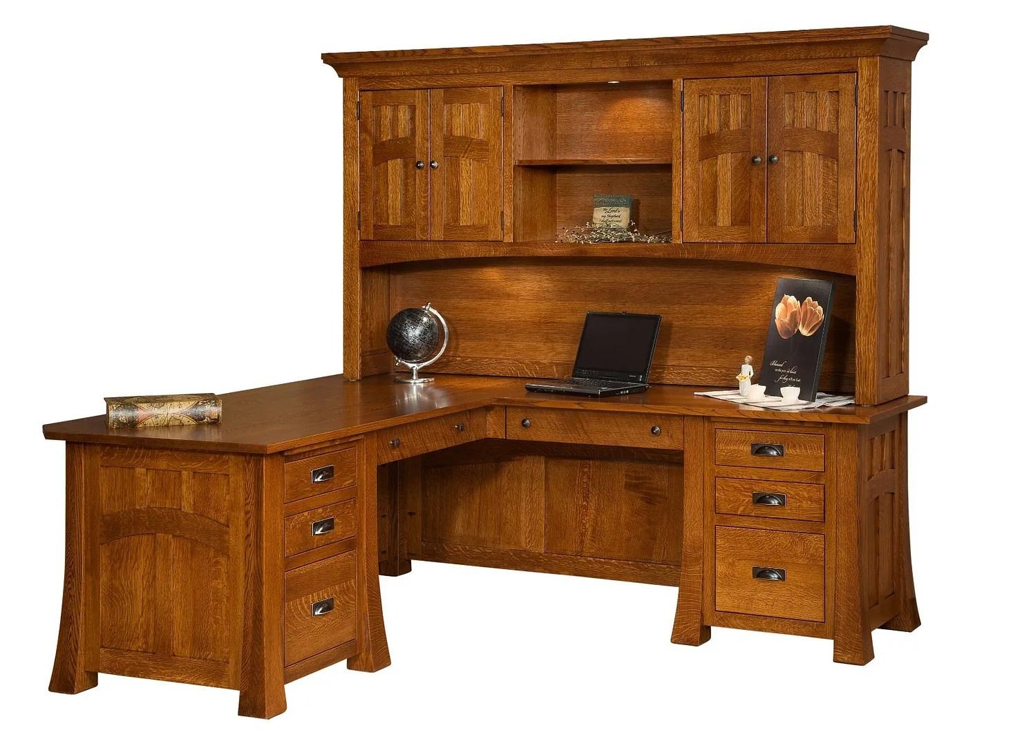 Amish Mission Arts & Crafts Corner Computer Desk Hutch