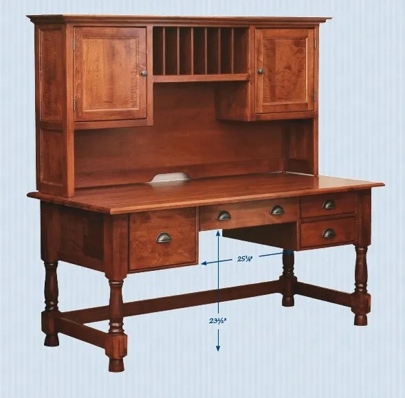 Amish Computer Writing Desk Hutch Solid Wood Home Office