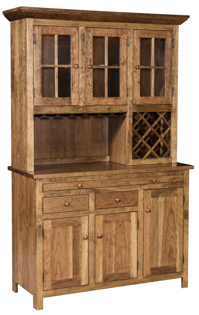 Amish Solid Wood Shaker Wine Hoosier Hutch China Cabinet