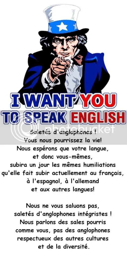 Pour donner vos commentaires sur la réplique aux racistes anglophones du Québec,  cliquez sur la photo de l'oncle SAM!