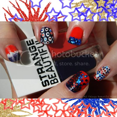 4th of July Manicure with #GlossyUSA & Strange Beautiful Glitter Manicure Nail Art