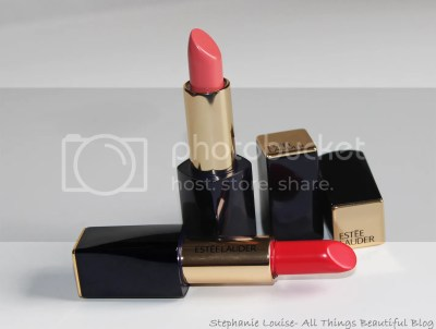 Estee Lauder Pure Color Envy Sculpting Lipsticks in Defiant Coral & Potent Review + Lip Swatches via @stephlouiseatb