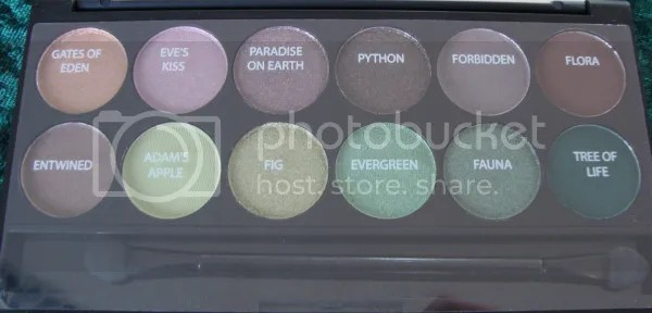 Sleek Garden Of Eden palette, with names