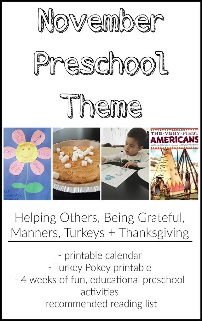 November Preschool Theme - 4 weeks of fun, educational preschool activities + free printable calendar