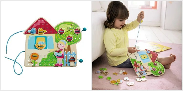 HABA Greta's Garden Threading Game - educational gift guide for preschoolers