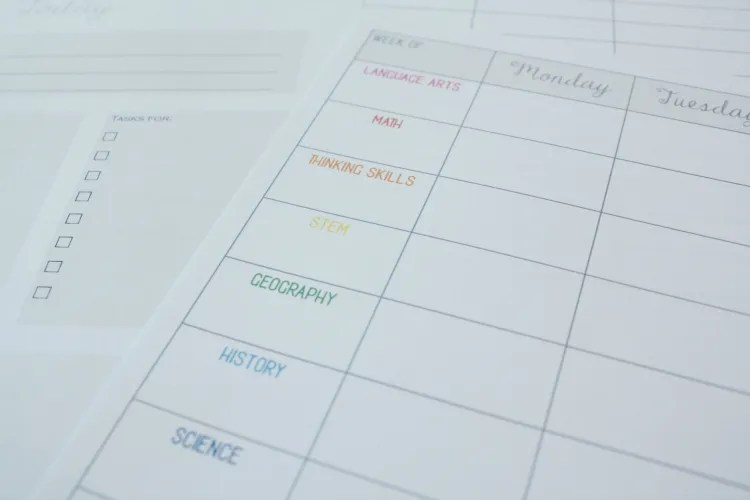 Homeschool Planning Sheet