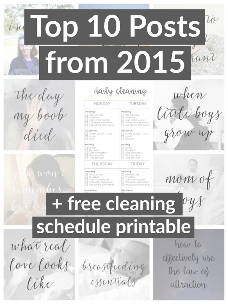Top 10 mommy posts of 2015 and a free 2 page cleaning printable, the first is a weekly cleaning schedule and the second one is for deep cleaning. Perfect for the new year!