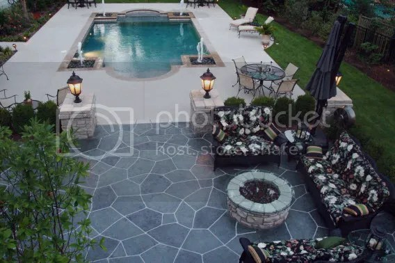 stained polished concrete pool deck