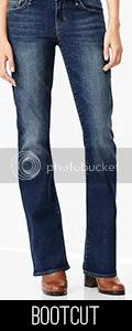 Model wearing bootcut jeans.