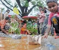 Cochin rain paper boats