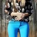 Chiffon Skull Shirt + Blue Denim