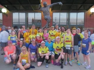 Marathon Maniacs and Half Fanatics.  I'm in the Wonder Woman shirt (the red) right there in the middle!
