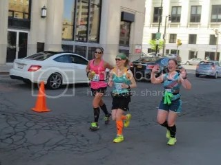 Janelle, Me, and Kat at the 13.1 mile point of the Buffalo Marathon!  Feeling strong.  Looking strong!