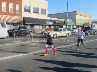Me fighting the 21 mph wind gusts at Mile 15 of the Marshall University Marathon - Huntington, West Virginia