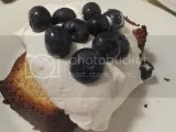 A slice of Tastefully Simple Gluten-Free Vanilla Bean Pound Cake (topped with TruWhip and organic blueberries)...my oven was too hot so it got a little dark...but it still rocked my gluten-free dessert life!