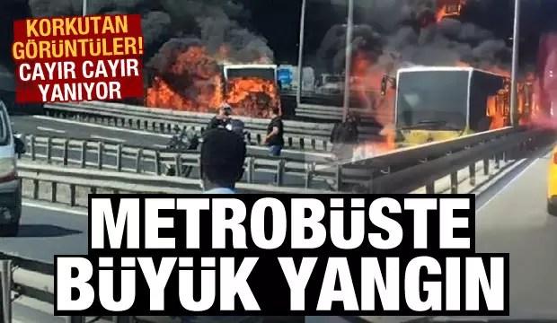 Son Dakika: Zeytinburnu'nda metrobüs cayır cayır yanıyor 1