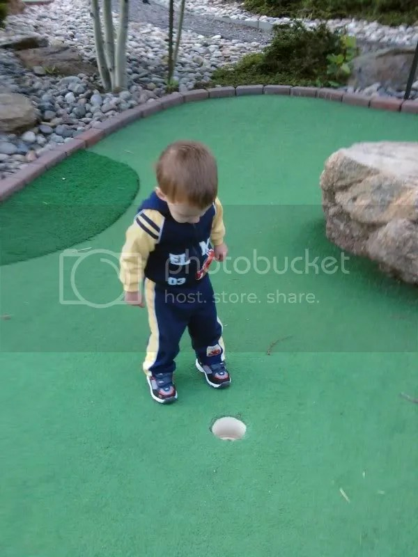 Captain Chaos plays mini golf.