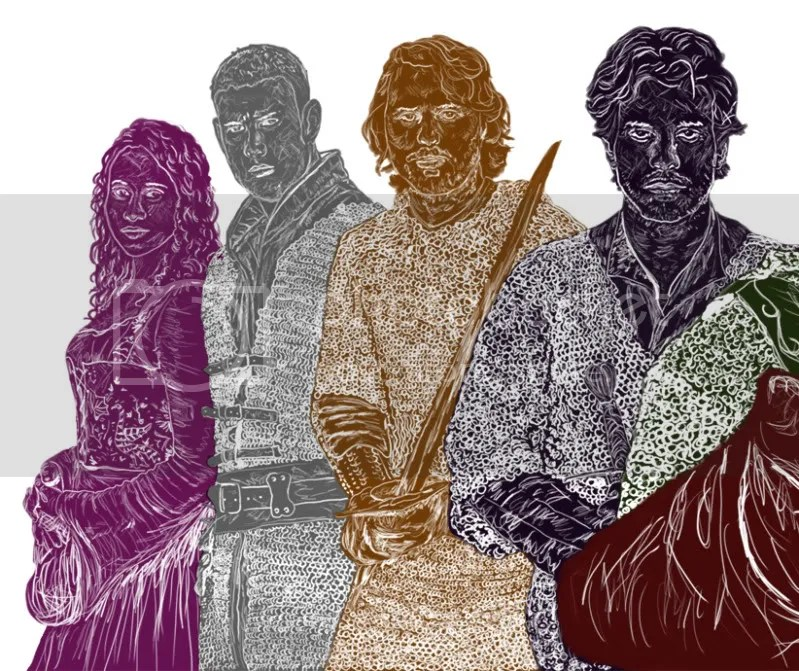 Close Up of Gwen, Percival, Leon and Lancelot of Round Table