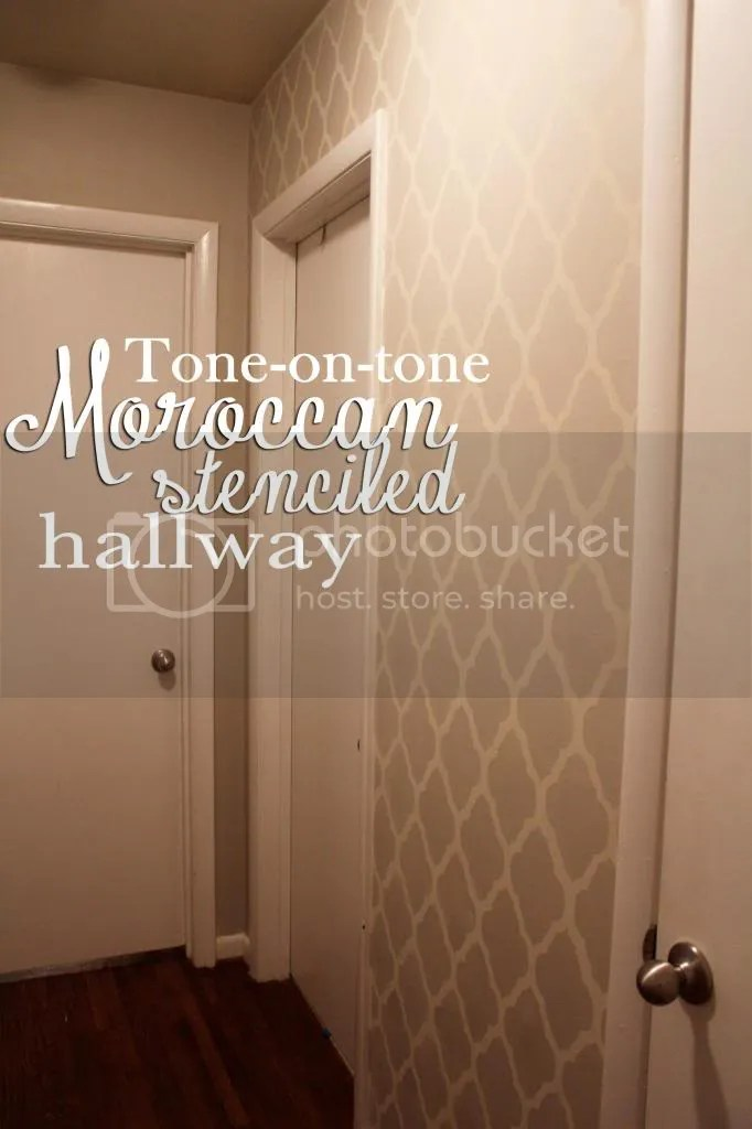 tone-on-tone Moroccan stenciled hallway