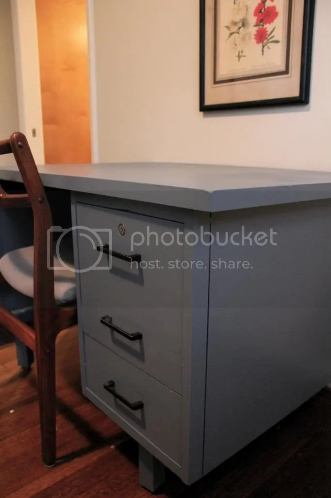 Gray-blue desk transformation - All Precious And Pleasant Blog