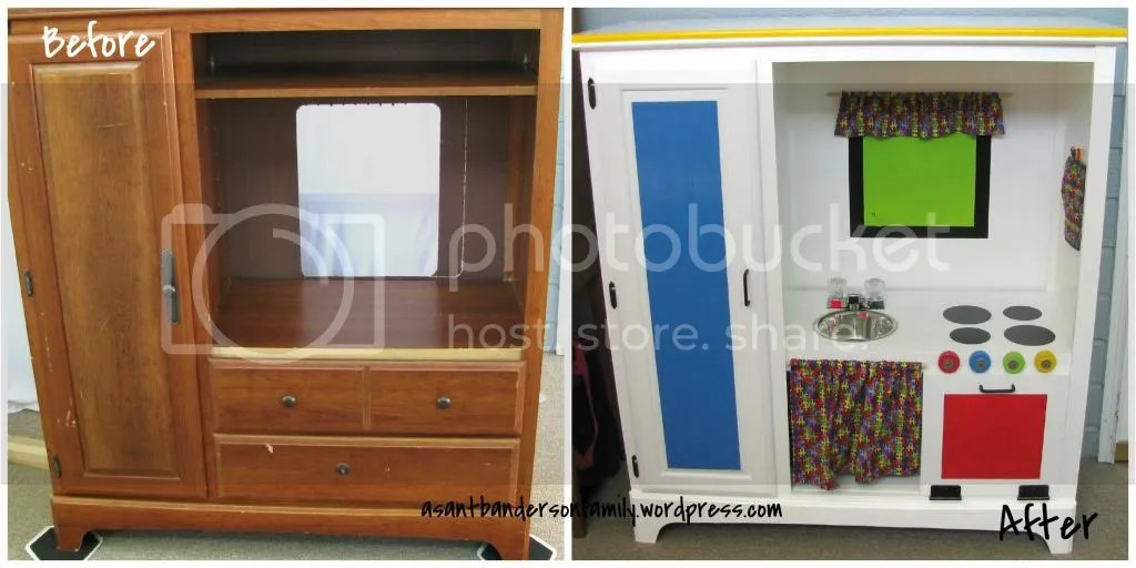 Before & After Upcycle Play Kitchen