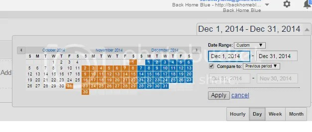 date range screenshot in google anayltics, the blogger collective blogger u: google analytics 101
