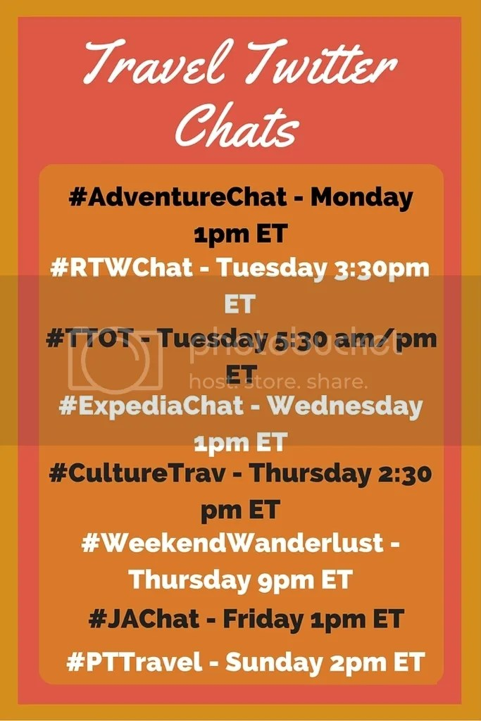 Travel Twitter Chats are a fun way to learn about new destinations, pick up some travel tips, and meet other travelers on Twitter. Here's a list of some of the best! Save for later so you don't miss out on any of the fun.