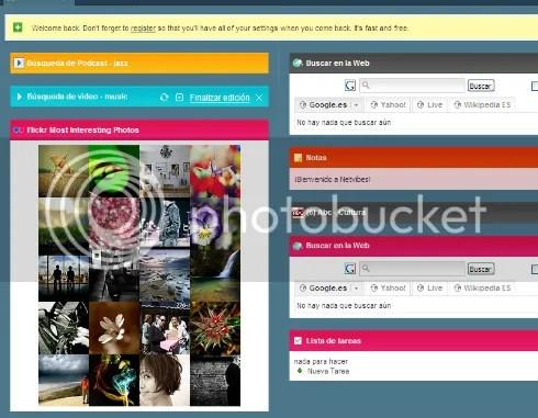 Pagina de Inicio de Netvibe