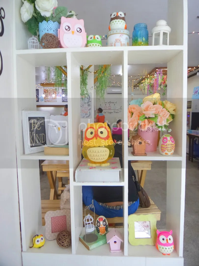 This cheerful shelf decorated with owls is the first thing you see when you enter Owl Avenue Cafe.