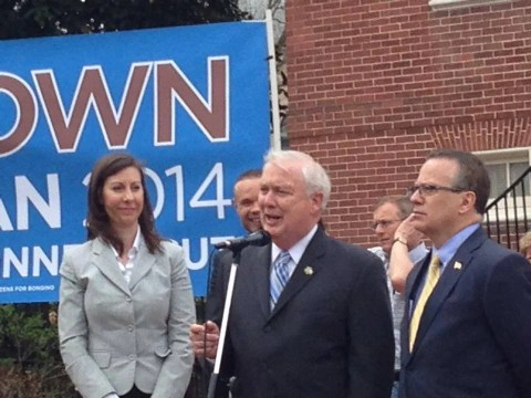 Jeannie Haddaway, David Craig, and Ron George attend a rally endorsing Anthony Brown for governor of Connecticut, April 14, 2014. Photo from Craig campaign.