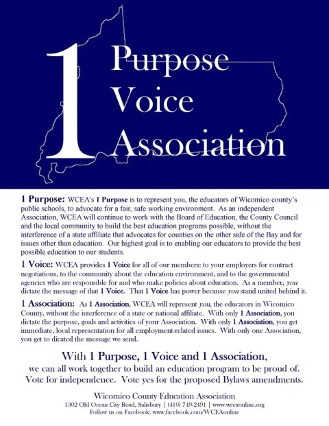 One voice WCEA flyer.