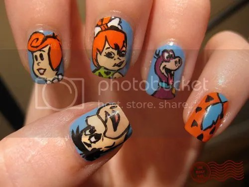 The Flintstones nail art