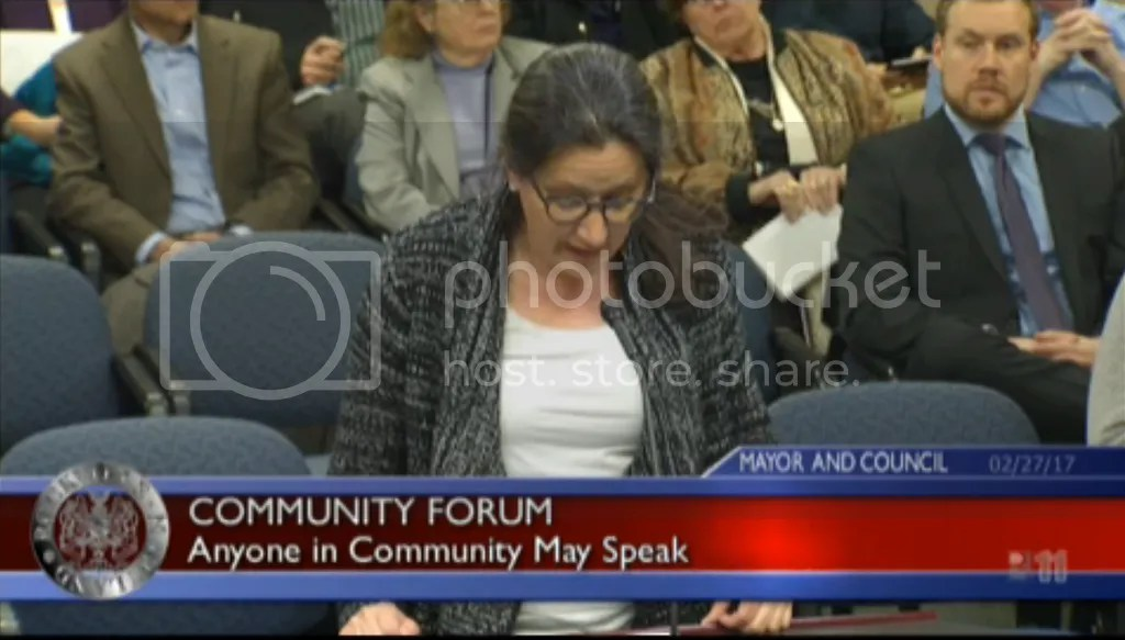 Carol Schlenker testifies for a Rockville city sanctuary ordinance.