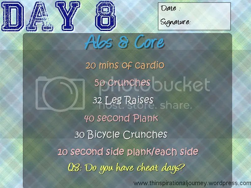Day 8 Abs and core challenge