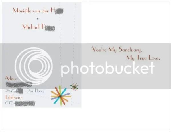 Achterkant verlovingskaart