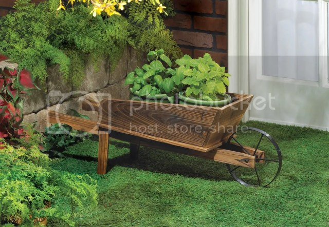 Details about Wooden Wheelbarrow Country Cart Plant Stand Yard Garden ...