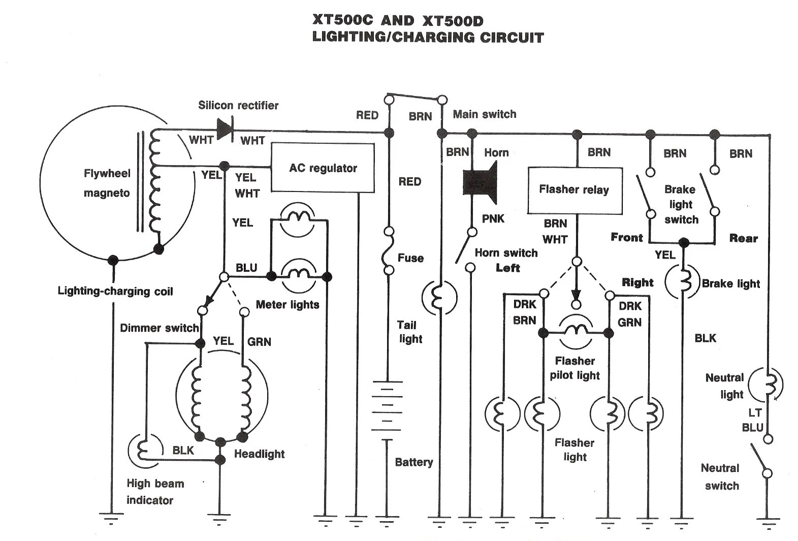 Yamaha Xt500 On Off Switch Schematic