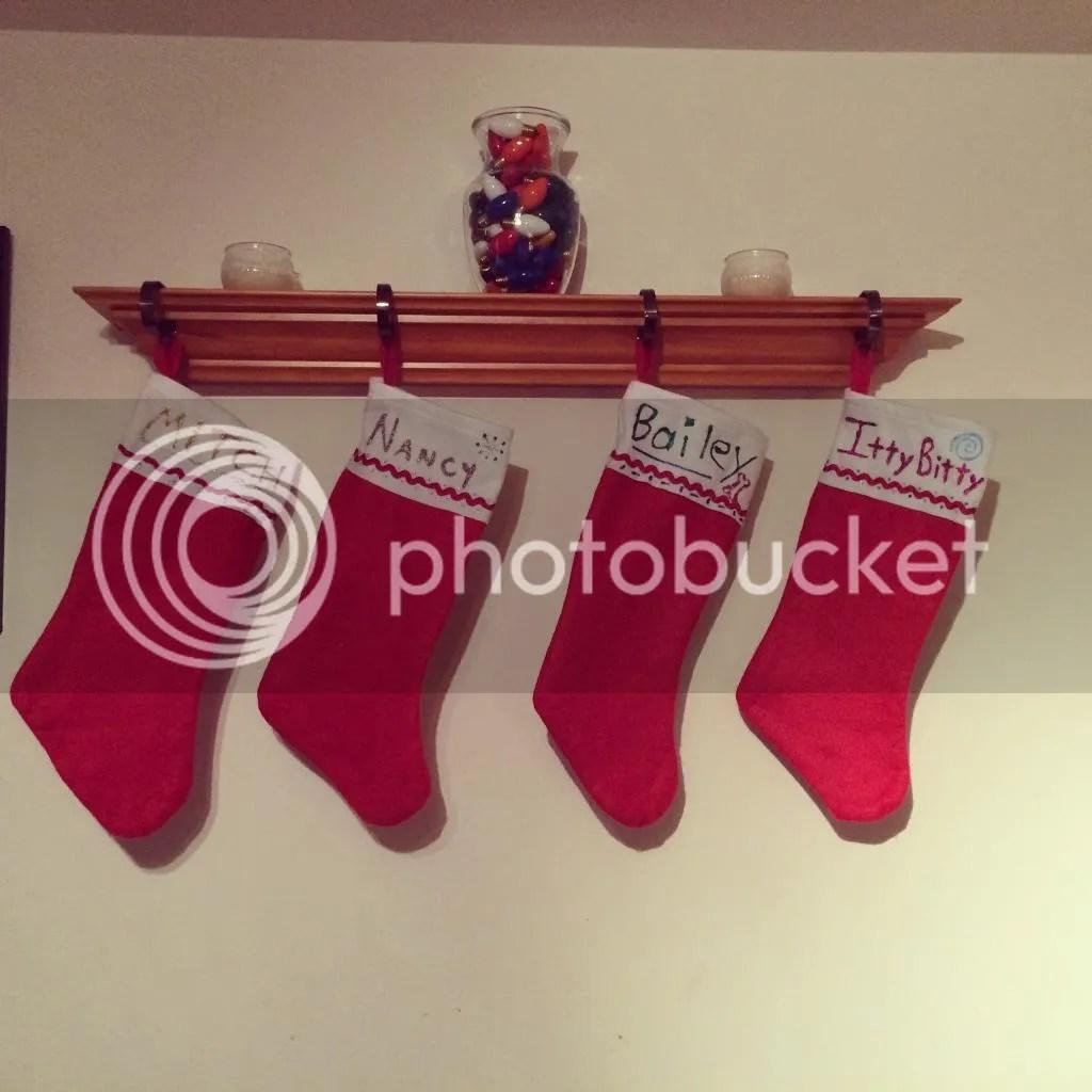 chrismas stockings, mitch, nancy, bailey, itty bitty
