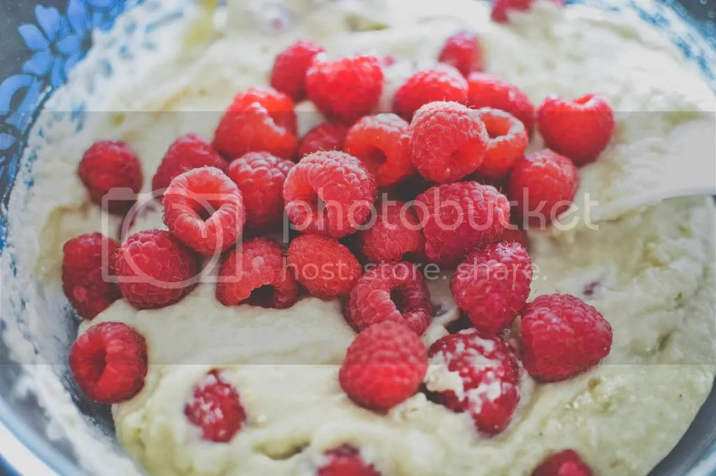 Cupcake Batter with Raspberries