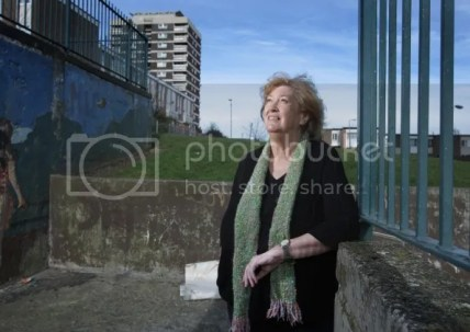 Inez McCormack at the Seven Towers Flats in the New Lodge area of North Belfast.