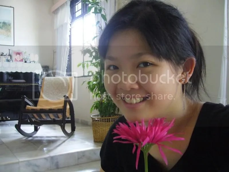 Me and the pink flower at home