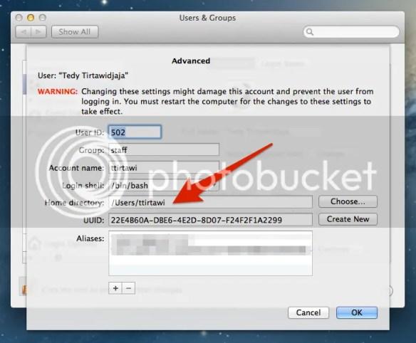 Edit HOME User Mac