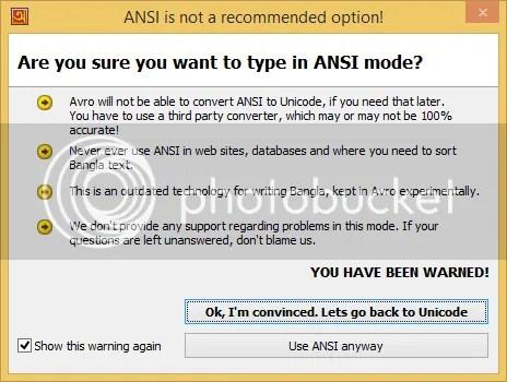 ANSI Warning